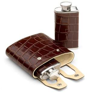 Aspinal of London Double 6Oz Leather Hip Flask In Deep Shine Amazon Brown Croc Stone Suede
