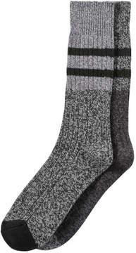 Joe Fresh Men's 2 Pack Ultra Soft Knit Socks, JF Black (Size 10-13)