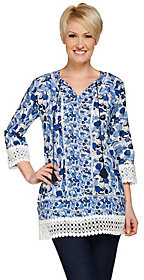 C. Wonder As Is Printed 3/4 Sleeve Woven Tunic w/ Lace Details