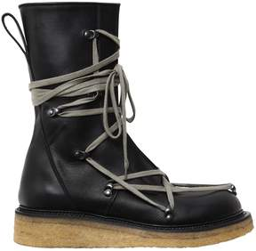 Rick Owens 30mm Lace Up Creeper Leather Boots
