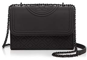 Tory Burch Fleming Convertible Matte Small Leather Shoulder Bag - BLACK/GOLD - STYLE