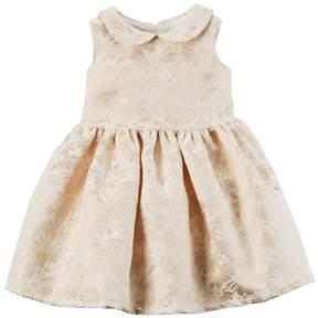 Carter's Baby Girl Gold Print Peter Pan Collar Dress