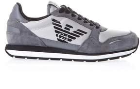 Emporio Armani Grey Leather And Nylon Jogging Sneakers