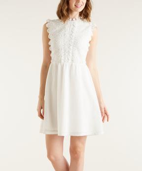 Bebe White Lace Cap-Sleeve Dress