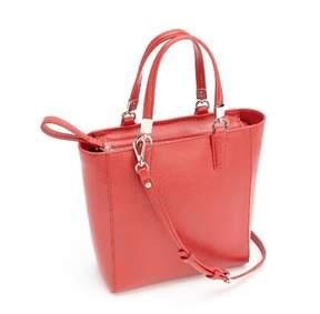 Royce Leather Royce RFID Blocking Saffiano Leather Mini Tote Crossbody Bag - Red