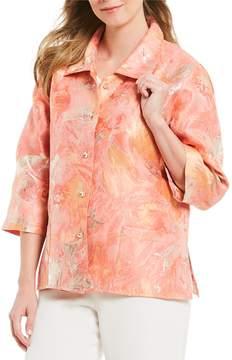 Caroline Rose Tonal-Floral Jacquard Button Front Jacket