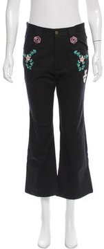 Cynthia Rowley Embroidered High-Rise Pants w/ Tags