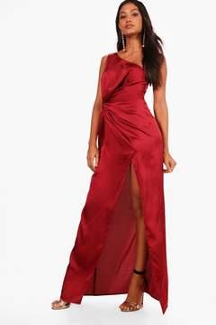 boohoo Satin One Shoulder Ruched Maxi Dress
