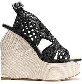 Paloma Barceló Woven Leather Espadrille Wedge Sandals
