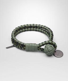 Bottega Veneta Bracelet In Artichoke Moss Nero Intrecciato Nappa Club