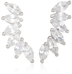 Fallon Rhodium Plated Cubic Zirconia Marquis Wing Climber Earrings