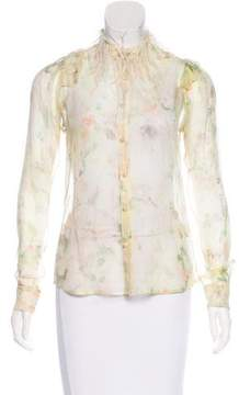 Zac Posen Feather-Trimmed Silk Blouse