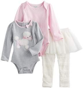 Nannette Baby Girl Poodle & Polka-Dot Bodysuits & Lace Skirt Leggings Set