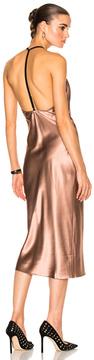 Fleur Du Mal Cowl Neck Bias Slip Dress in Neutrals,Pink.