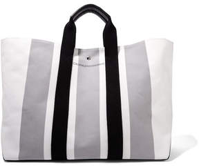 Calvin Klein Leather-trimmed Striped Canvas Tote - White