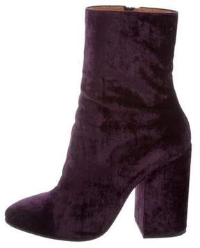 Dries Van Noten Velvet Round-Toe Ankle Boots