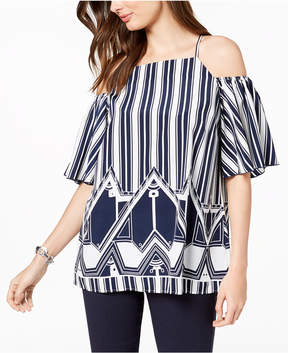 Alfani Mixed-Print Cold-Shoulder Top, Created for Macy's