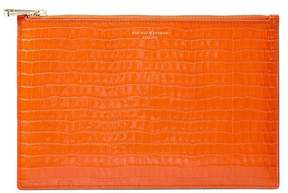 Aspinal of London Large Essential Flat Pouch In Deep Shine Amber Small Croc