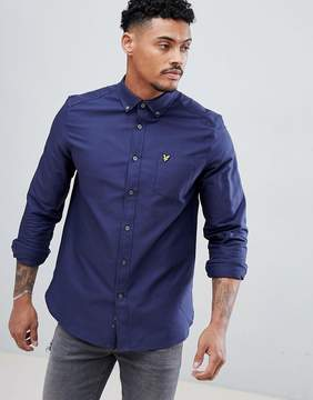 Lyle & Scott Oxford Shirt Buttondown Regular Fit Eagle Logo in Navy