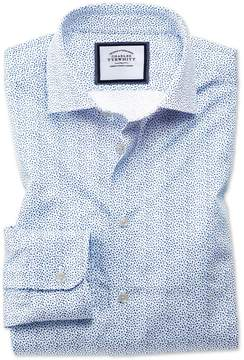 Charles Tyrwhitt Classic Fit Semi-Spread Collar Business Casual White and Blue Ditsy Print Cotton Dress Shirt Single Cuff Size 16/33