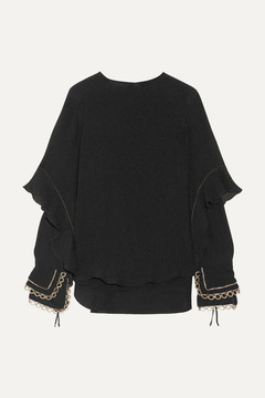 Chloé Ruffled Metallic-trimmed Silk-seersucker Blouse - Black