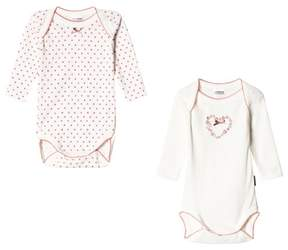 Absorba 2 Pack of Cream Spot and Floral Heart Bodies