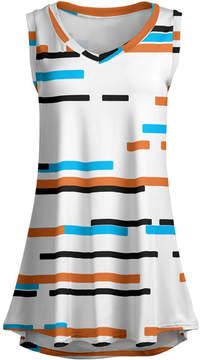 Lily Orange & Blue Abstract Line Sleeveless Tunic - Women & Plus