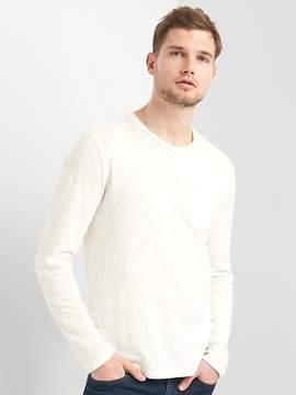 Gap Long Sleeve Crewneck Pocket T-Shirt in Slub Cotton