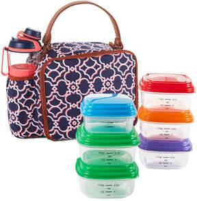 Fit & Fresh Navy Coral Castle Gates Roseville Insulated Lunch Bag Set