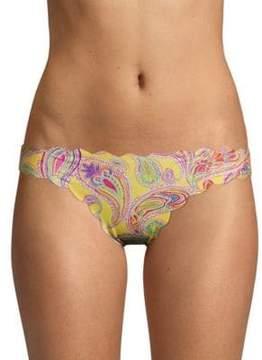 Pilyq Reversible Seamless Paisley-Print Bikini Bottom