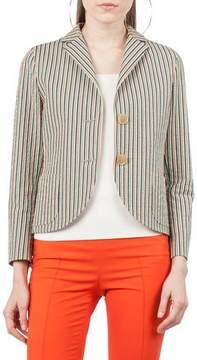 Akris Punto Two-Button Striped Seersucker Blazer