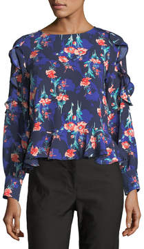 Collective Concepts Floral-Print Lace-Inset Blouse