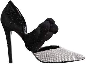Marco De Vincenzo 105mm Swarovski & Braided Velvet Pumps