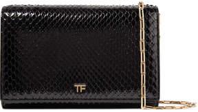 Tom Ford Leather-trimmed Python Shoulder Bag - Black