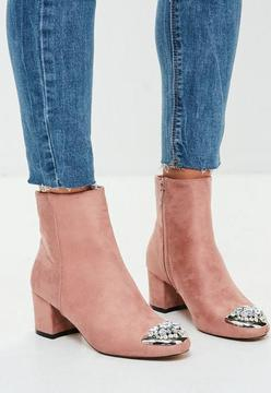Missguided Nude Embellished Toe Ankle Boots