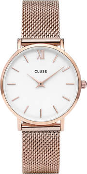 Cluse CL30013 Minuit stainless steel rose gold mesh watch