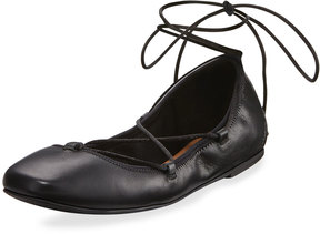 Elie Tahari Zen Leather Lace-Up Flat, Black