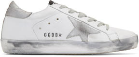 Golden Goose Deluxe Brand White and Silver Superstar Sneakers