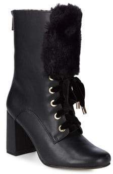 Nanette Lepore Nanette By Freya Faux Fur-Trim Leather Booties