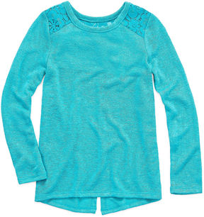 Arizona ArizonaLong Sleeve Lace Shoulder Top- Preschool Girls