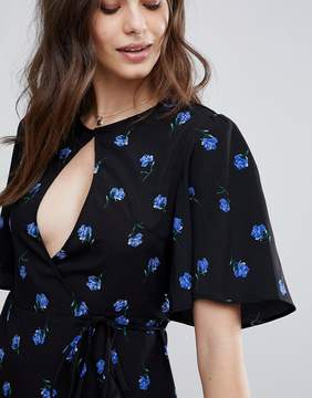 Fashion Union Wrap Tea Blouse In Vintage Floral Print