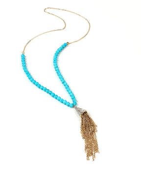 Amrita Singh Blue & Goldtone Tassel Surbhi Lariat Necklace