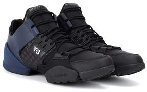 Y-3 Kanja leather and fabric sneakers