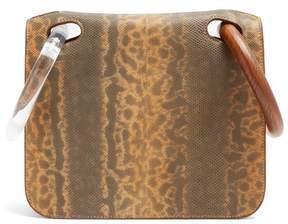 Roksanda Neneh Wooden Handle Leather Clutch - Womens - Yellow Multi