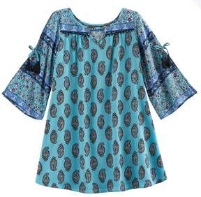 My Michelle Girls 7-16 Open Bell Sleeves Paisley Dress