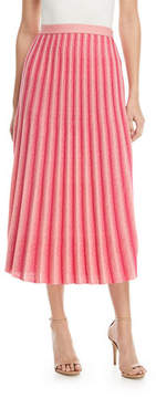 Derek Lam 10 Crosby A-Line Pleated Striped Knit Midi Skirt