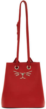 Charlotte Olympia Red Feline Bucket Bag