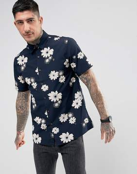 Farah Tilbury Casual Fit Floral Short Sleeve Shirt Navy