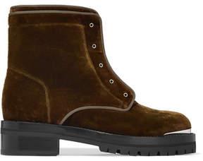 Alexander McQueen Velvet Ankle Boots - Army green