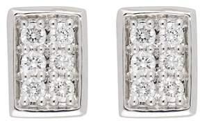 Bony Levy 18K White Gold Pave Diamond Rectangle Stud Earrings